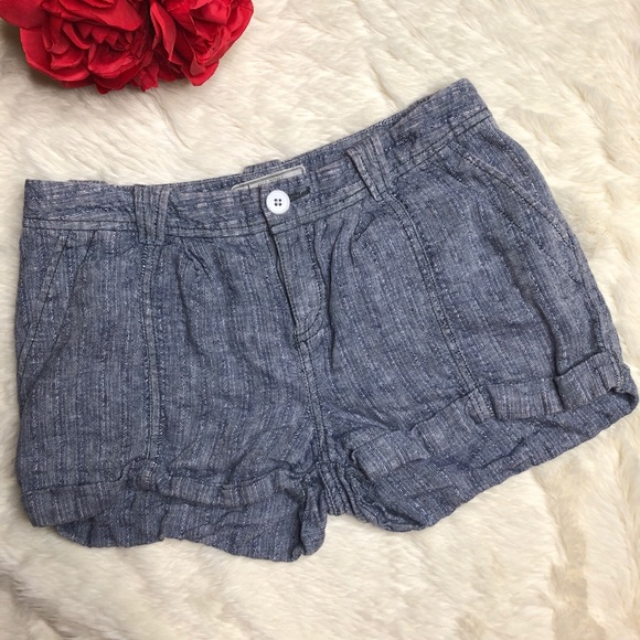 Free People Pants - Free People Blue Linen Shorts
